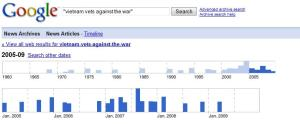 "Results of Google search for ""Vietnam Vets against the War""  2005-2009"