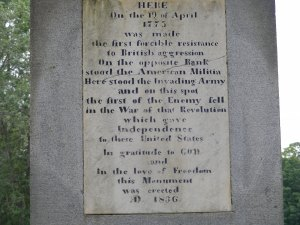 Old concord monument inscription