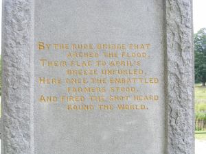 The most famous inscription of the concord minuteman statue